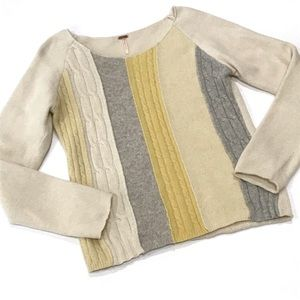 Free People Stripe Mixed Media Cable Knit Sweater